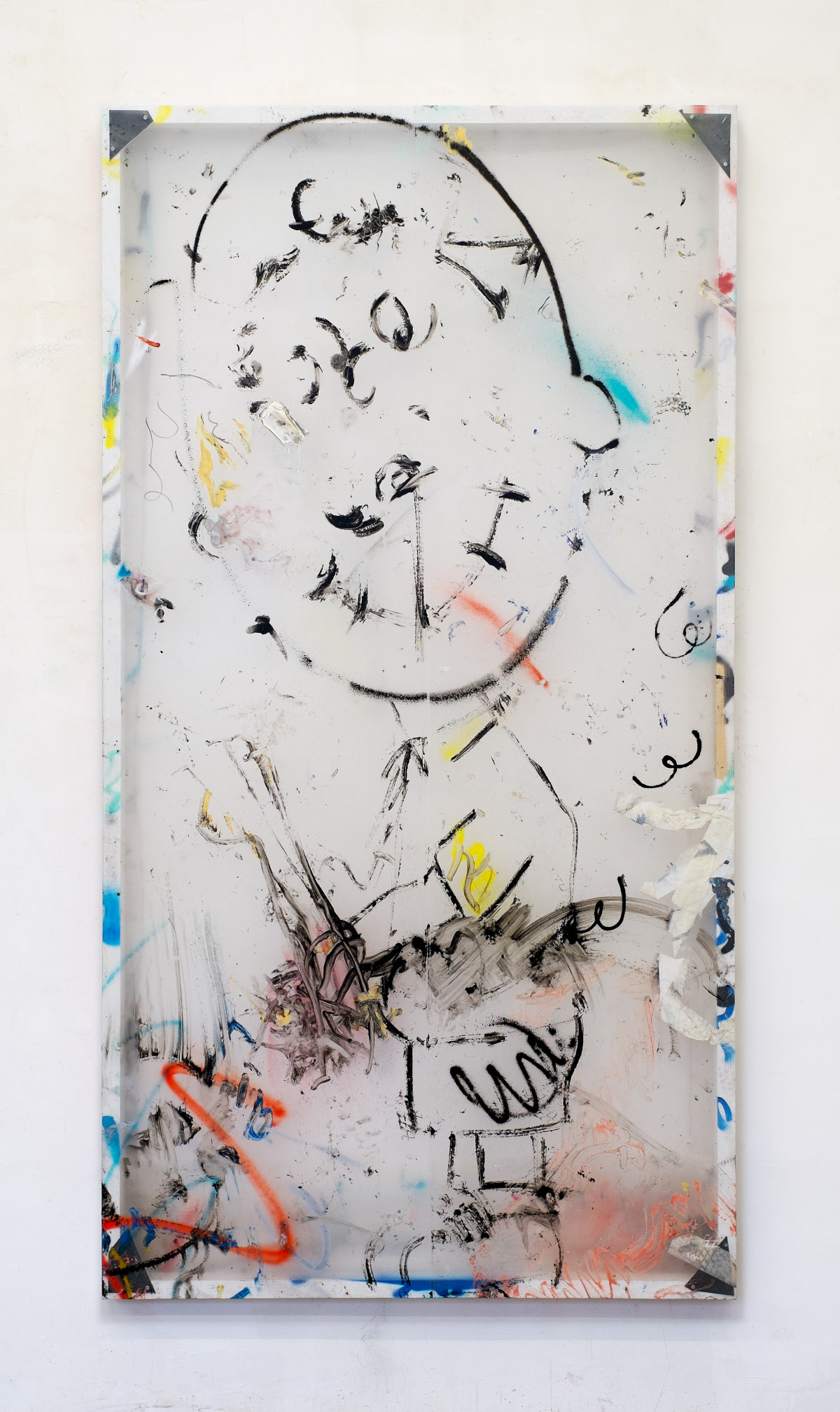 Antoine Donzeaud_2015_Untitled PE (thrive throve thriven)_200x106x6cm_wood, steel, polythene, oil stick, acrylic, aerosol paint, tape, marker, aluminium, resin_2015-ad-15