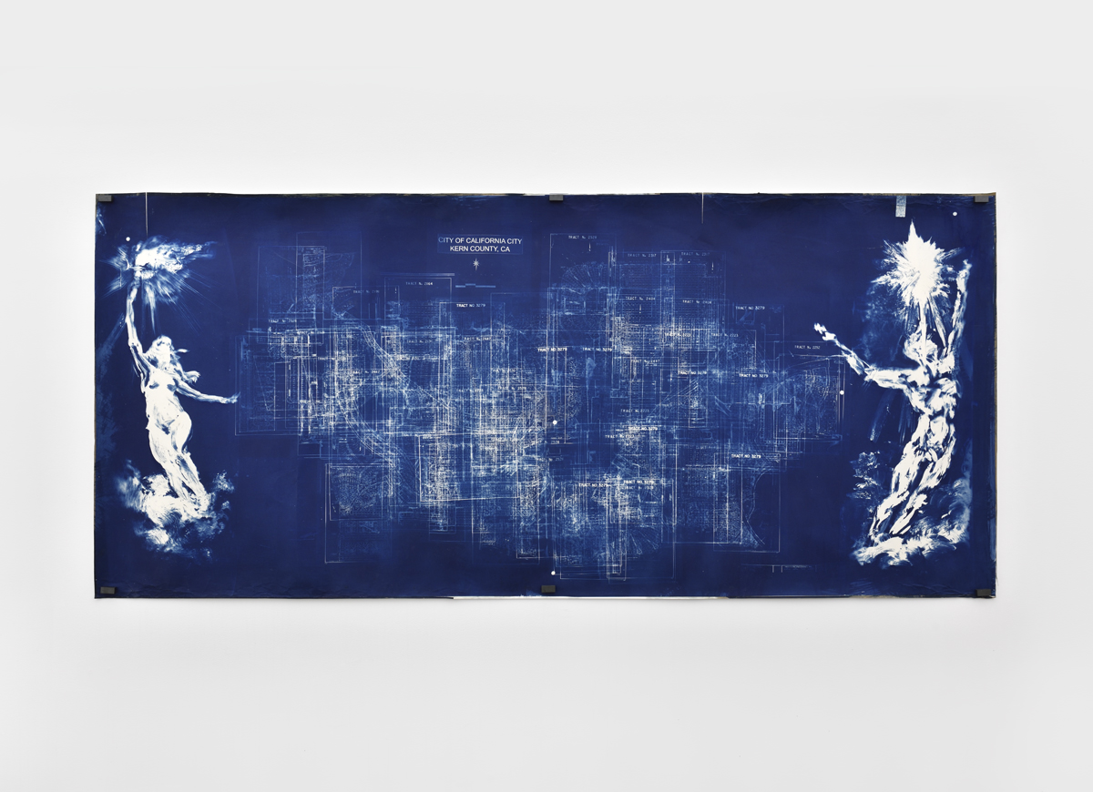 Dennis Rudolph—Untitled Map (1_1)—2012—cyanotype—96 x 234 cm—Courtesy Lily Robert