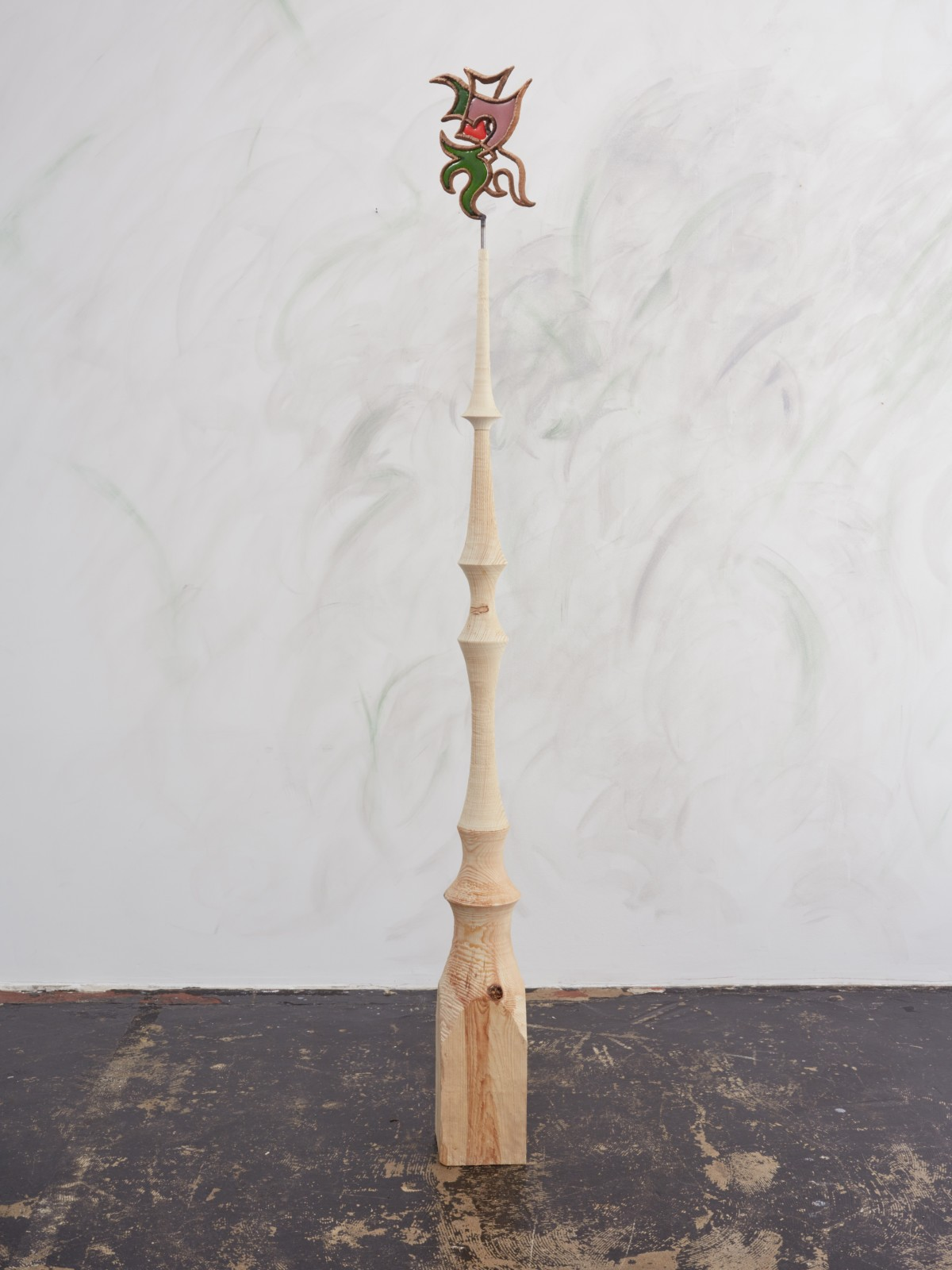 Emelie Sandström, Beast, 2016, Pinewood, bronze, glass, 74 x 7 x 6 in, 187 x 17 x 15 cm